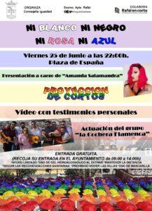 25 de junio, a las 22'00 h., Plaza de España de Rafal celebra el Orgullo LGTBQ+